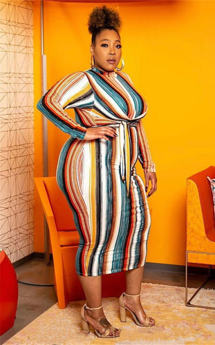 Plus Size O Neck Long Sleeve Colorful Striped With Sashes Mid Calf Dress