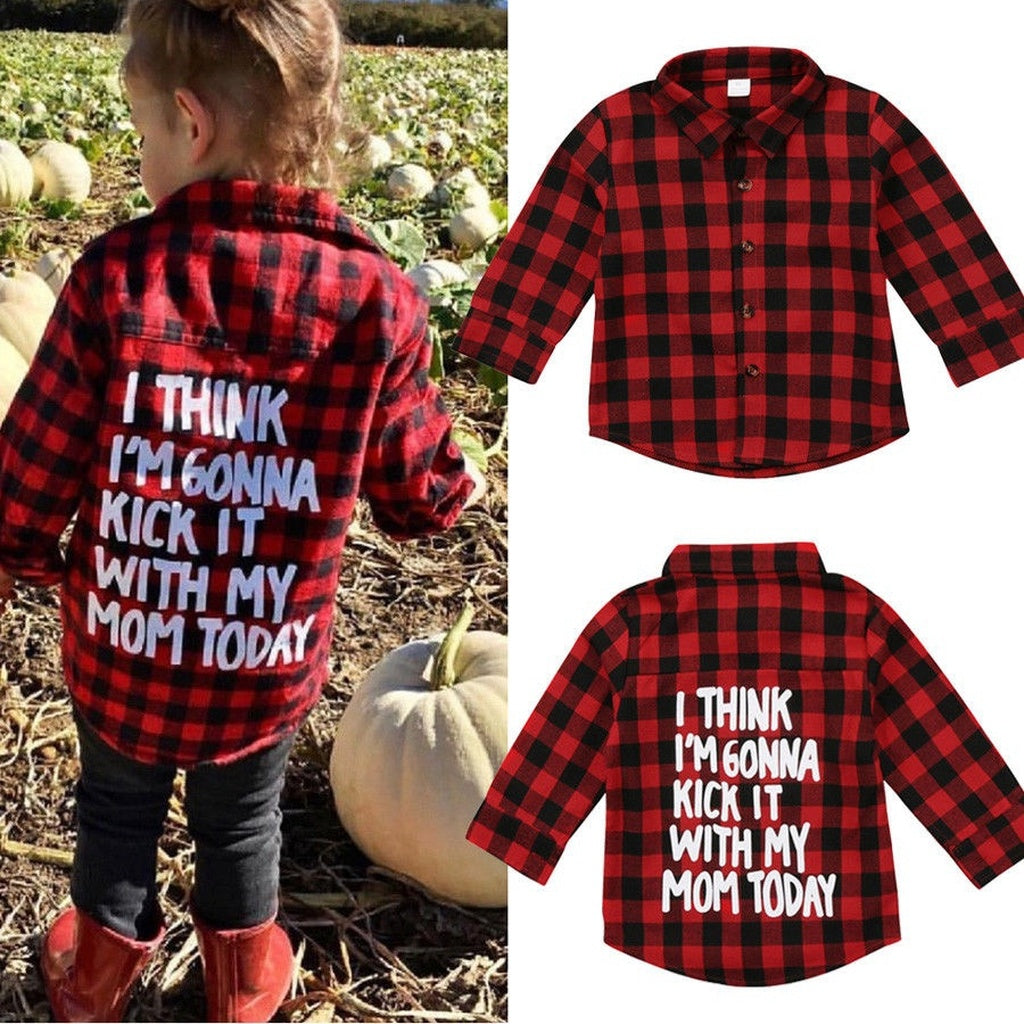 Toddler Kids Baby Boys Girl Printed Plaid Tops Shirt Long Sleeve T-shirt Clothes - kats closet1