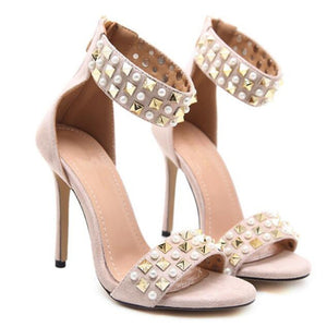 Stiletto High Heel Beaded Strap Shoes - kats closet1