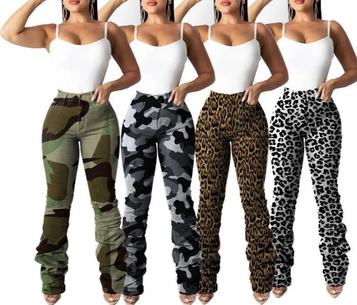 Denim Retro Pleated Straight Leopard+Camouflage Print Pencil Pants