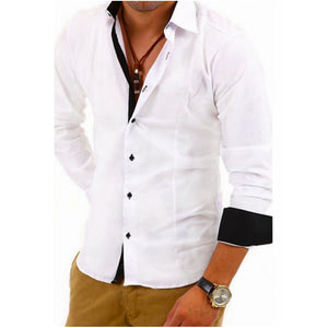Men Shirt Brand 2018 Male High Quality Long Sleeve Shirts Casual Hit Color Slim Fit Black Man Dress Shirts 4XL - kats closet1