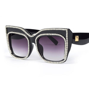 Oversize Frame With Rhinestones Rim Sunglasses - kats closet1