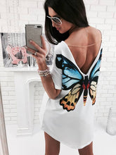Load image into Gallery viewer, Summer Women Tops Back Cute Butterfly Cats Print Printed Sexy Deep V Backless With A Short Sleeve Long Tops T-Shirt Tees W2084 - kats closet1