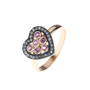 Diamond Heart Pink Tourmaline Ring - kats closet1