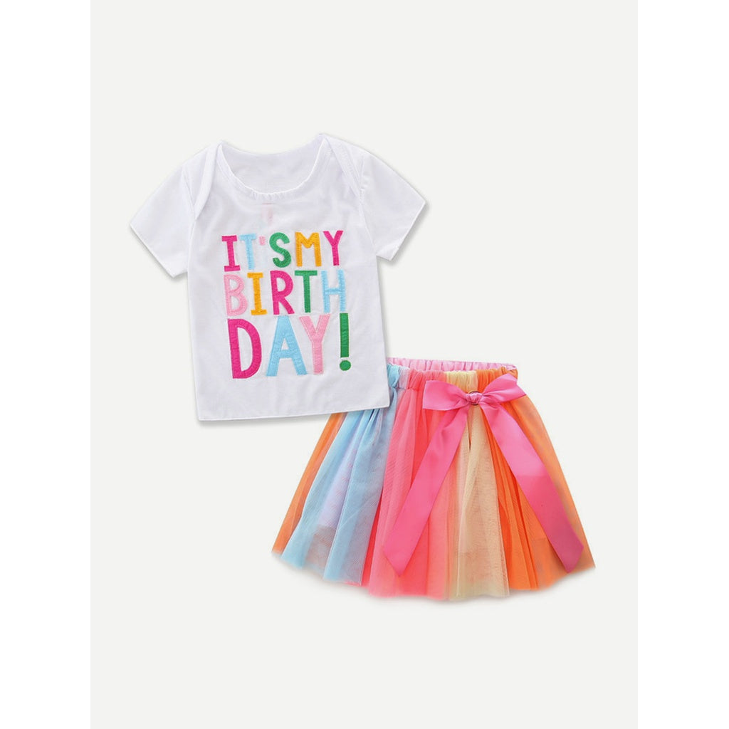 Kids Letter Print Tee With Colorful Skirts - kats closet1