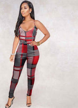 Load image into Gallery viewer, Color Print Plaid Backless Spaghetti Strap Jumpsuit - kats closet1