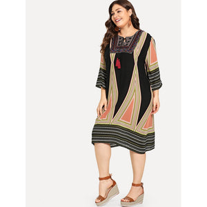 Plus Geo Embroidered Tassel Tie Tunic Dress - kats closet1
