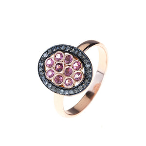 Diamond Pink Tourmaline Oval Ring - kats closet1