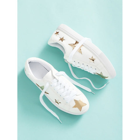 Metallic Star Lace Up Sneakers - kats closet1