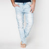 Mens Slim Fit Moto Ripped Jeans in Light Blue - kats closet1