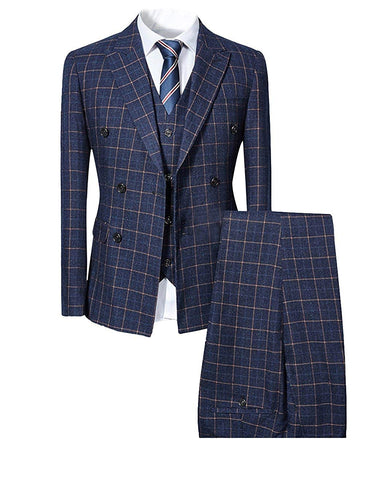 Mens Blue Slim Fit 3 Piece Checked Suits Double Breasted Vintage Fashion - kats closet1