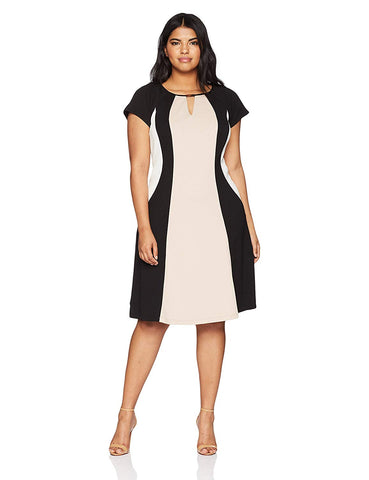 Sandra Darren Women's Plus Size Short Sleeve Printed Color Block Fit & Flare Dress
