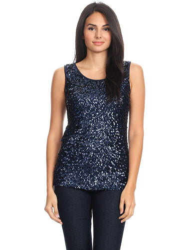 Sparkle & Shine Glitter Sequin Embellished Sleeveless Round Neck Tank Top - kats closet1
