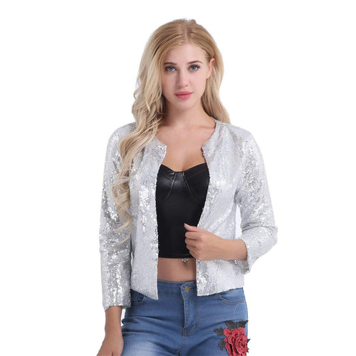 FEESHOW Women Cardigan Jacket Sparkle Sequin Bling Long Sleeve Sweaters Short Tops - kats closet1