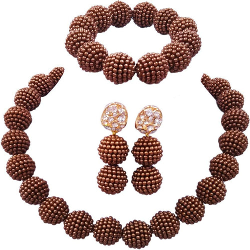 aczuv Nigerian Wedding African Beads Jewelry Set Women Simulated Pearl Necklace and Earrings - kats closet1