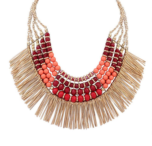 LINJIE JEWELRY Ethnic Tribal Boho Beads Statement Necklace Fringe Bib Tassel Chunky - kats closet1