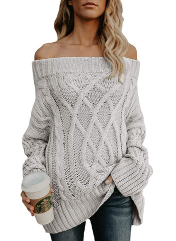 Chuanqi Womens Oversized Off The Shoulder Sweaters Cable Knit Fall Long Casual Loose Pullover - kats closet1