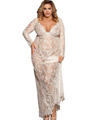 Plus Size Floral Lace Nightgown Long Lingerie Sleepwear Chemise - kats closet1