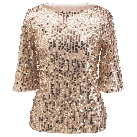 Sequin Sparkle Glitter Tank Cocktail Party Tops Shining T-Shirt Blouses - kats closet1