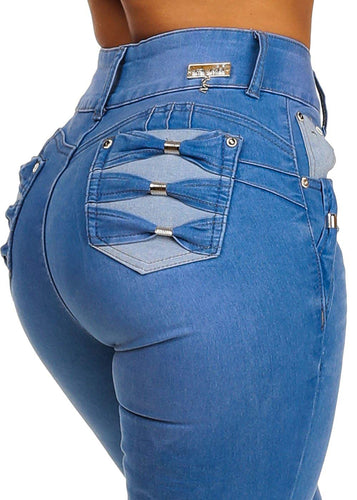 Butt Lifting Ultra High Waist Skinny Leg Design Denim Jeans - kats closet1