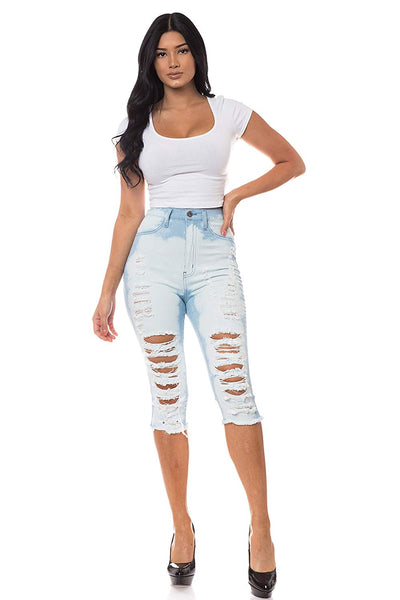 Ripped Capri  Destroyed Distress Denim Jeans