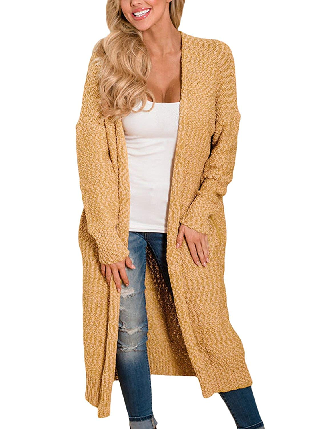 Dokotoo Womens Solid Casual Cozy Knit Open Front Long