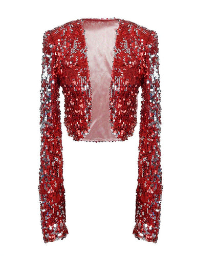 Women Sequin Jacket Long Sleeve Sparkly Cropped Shrug - kats closet1