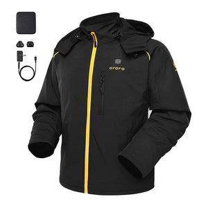 Men's Soft Shell Heated Jacket with Detachable Hood and Battery Pack - kats closet1