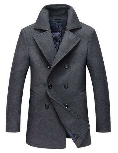 chouyatou Men's Classic Notched Collar Double Breasted Wool Blend Pea Coat - kats closet1