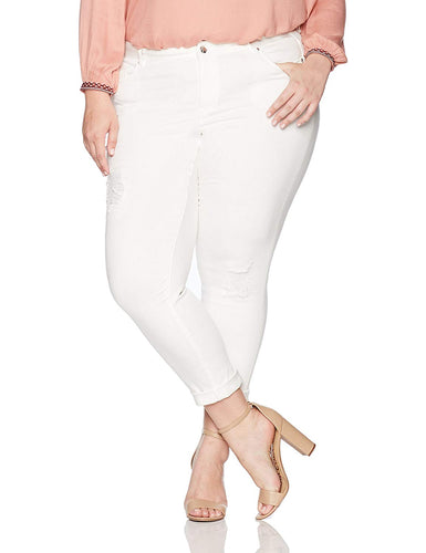 Denim Color Girlfriend Jeans Plus Size - kats closet1