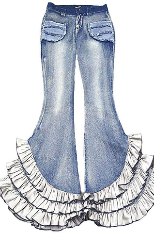 AvaCostume Womens Fading Bell Buttom Flare Ruffle Legs Denim Jeans - kats closet1
