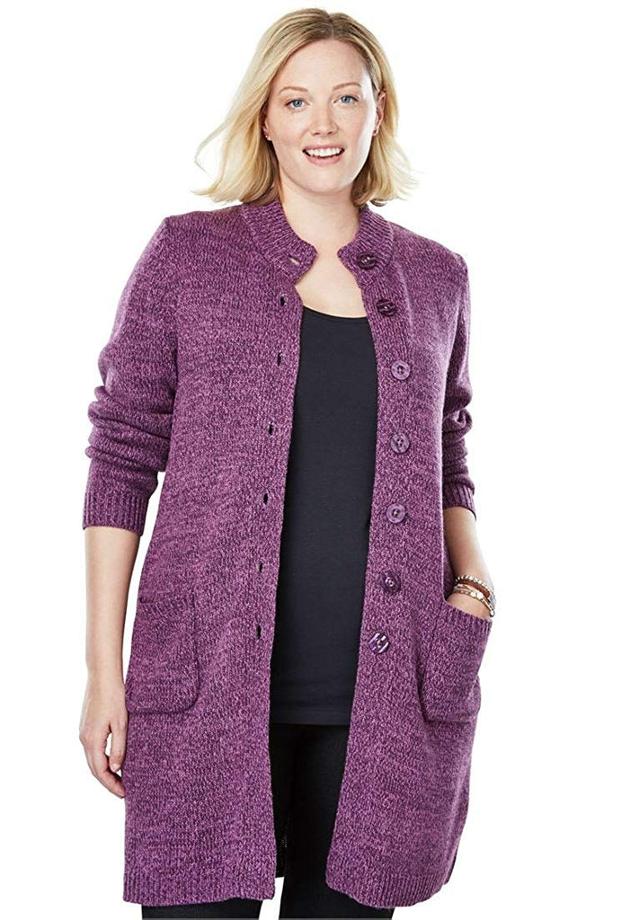 d14a5917dce Woman Within Plus Size Marled Sweater Jacket – kats closet1