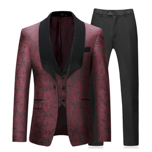 Boyland Mens 3 Piece Tuxedos Vintage Groomsmen Wedding Suit Complete Outfits(Jackets+Vest+Trousers) Red
