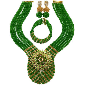 laanc Womens Wedding 6 Rows Champagne Gold AB and Multicolor Crystal Beads African Jewelry Sets - kats closet1