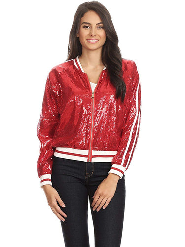 Womens Sequin Long Sleeve Front Zip Jacket with Ribbed Cuffs - kats closet1