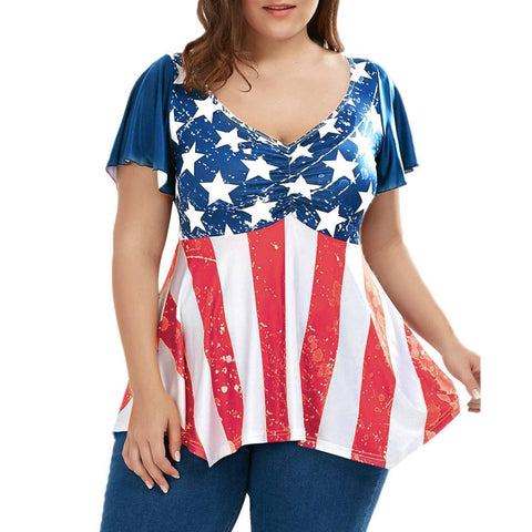 Plus Size Patriotic American Flag Printed Ruched Short Sleeved Blouse