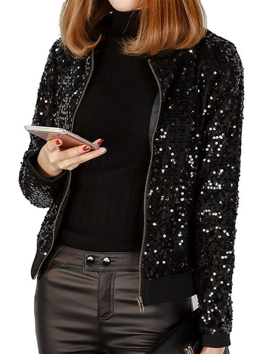 Sequin Blazer Long Sleeve Plus Size Sparkly Bomber Jacket - kats closet1