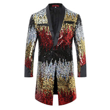 Load image into Gallery viewer, Cloudstyle Men's Tuxedo Single-Breasted Party Show Suit Sequins Punk Jacket Blazer - kats closet1