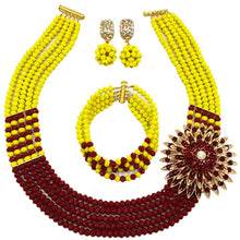 Load image into Gallery viewer, laanc Womens Girls Necklace Bracelet 5 Rows Gold AB and Colorful Crystal Beads African Jewelry Sets - kats closet1
