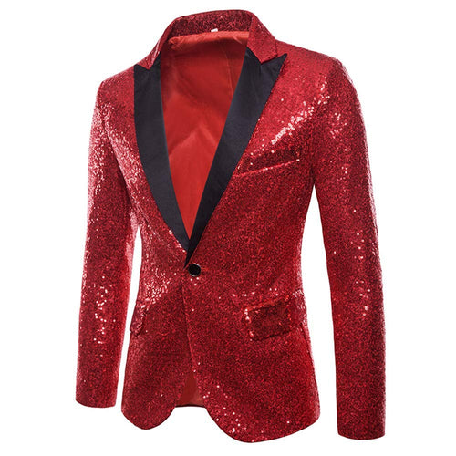 MAGE MALE Men's Shiny Sequins Suit Jacket Blazer One Button Tuxedo for Party,Wedding,Banquet,Prom - kats closet1