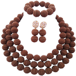 laanc 3Rows Womens Necklace Bracelet Earrings African Beads Nigerian Wedding Party Jewelry Sets 18inch - kats closet1