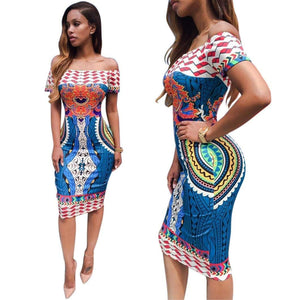 African Print Dashiki Bodycon Sexy Short Sleeve Dress - kats closet1