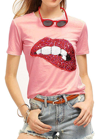 Sequined Glittery Lips Tee Cute Embroidery Tops Funny T Shirts - kats closet1