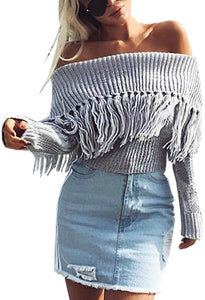 Women's Sexy Off Shoulder Long Sleeve Slim Fit Fringe Knit Crop Top Sweater - kats closet1
