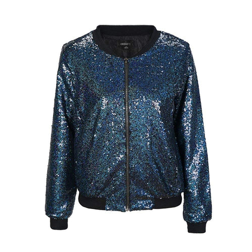 IRISIE Women Sparkle Sequin Lightweight Long Sleeve Zipper Up Jacket - kats closet1