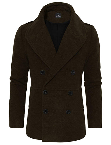 Tom's Ware Men's Stylish Large Lapel Double Breasted Pea Coat - kats closet1
