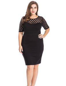 Chicwe Women's Plus Size NR Ponte Sheath Dress with Jacquard Lace Top - Knee Length Work Casual Party Cocktail Dress - kats closet1