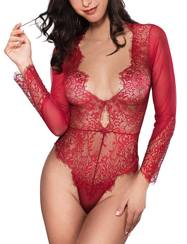 Sexy Long Sleeve Lace Deep V Bodysuit Lingerie