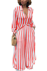 ReachMe Womens Striped Button Down Maxi Dress Loose 2 Piece Outfit Wide Leg Pants