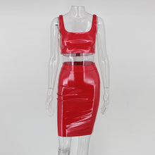 Load image into Gallery viewer, NATTEMAID Womens Black Sexy Bodycon Leather Dresses Strap Latex Club Wear Costumes PVC Mini Dress Catsuits Cat Suits Vestidos - kats closet1